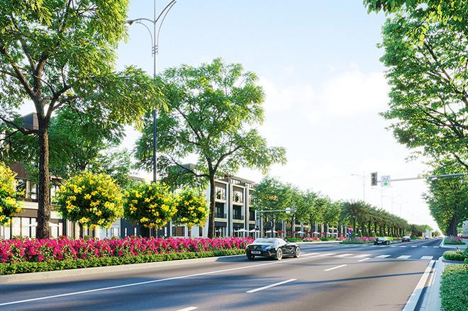 """Đại lộ """"huyết mạch"""" Goldsilk Boulevard dài 2km kết nối toàn khu đô thị Gem Sky World Long Thành sẽ chính thức khánh thành trong quý 1 năm nay."""