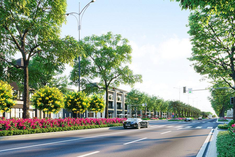 """Đại lộ Goldsilk Boulevard dài 2km như """"đường băng"""" nâng tầm vị thế và kết nối đồng bộ với toàn khu đô thị"""