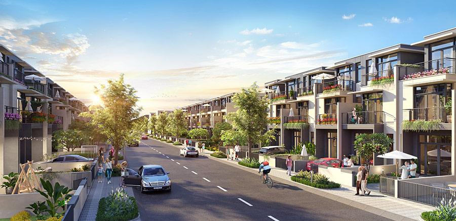 Nhà phố xây sẵn có diện tích từ 100 - 120m2 bao gồm 1 trệt và 2 lầu có thiết kế theo lối kiến trúc hiện đại